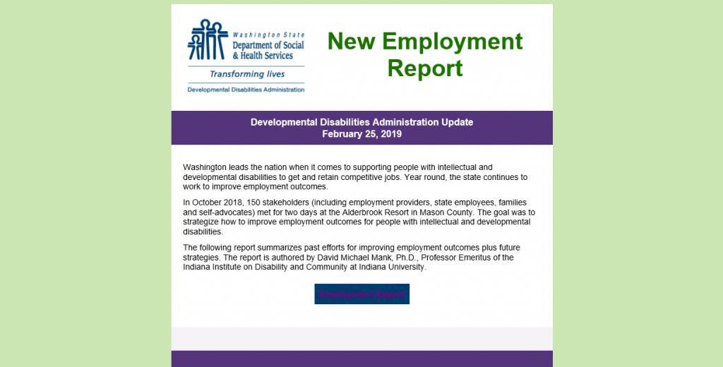 Employment First in Washington 2018 Report | Wise