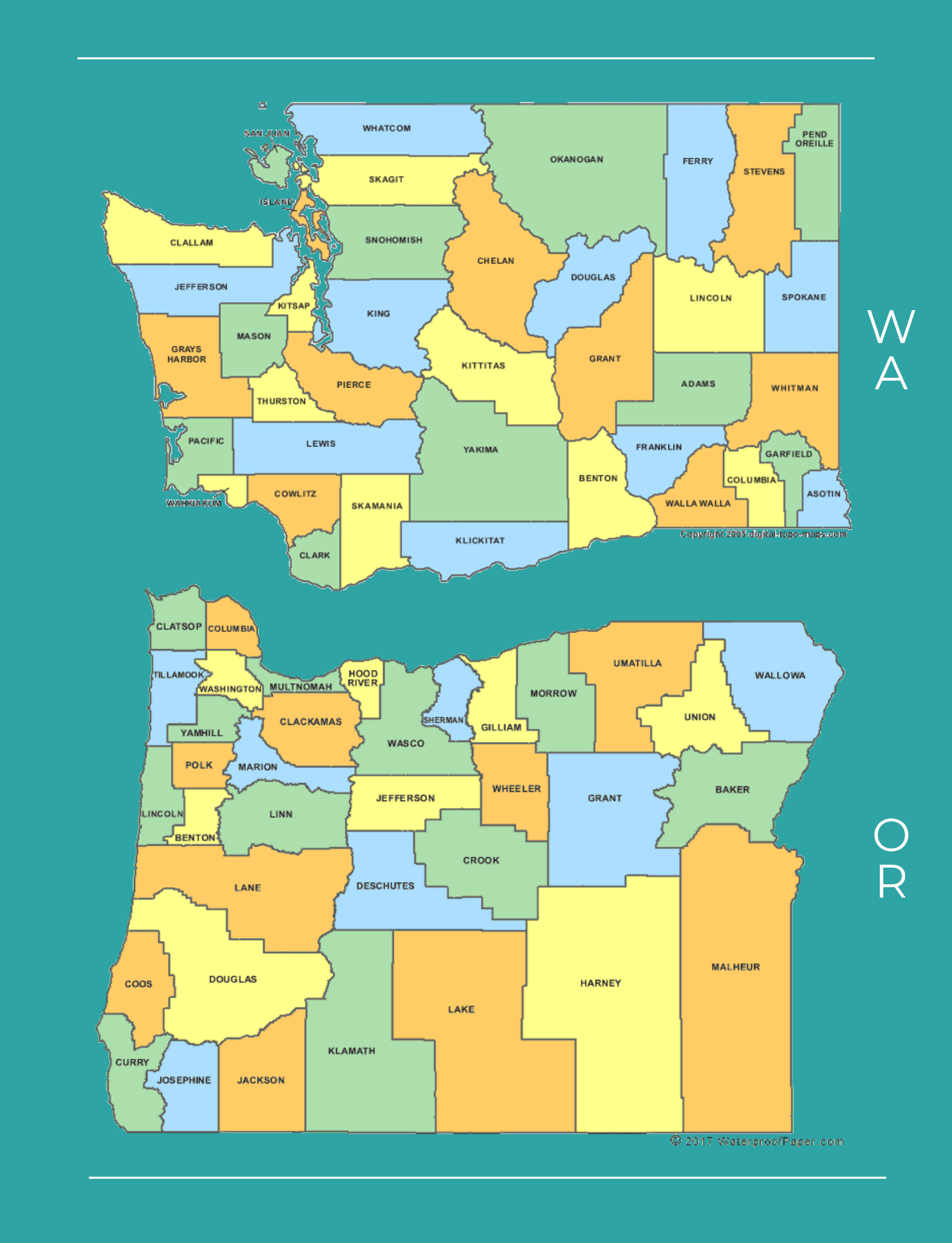 Pacific Northwest County Map