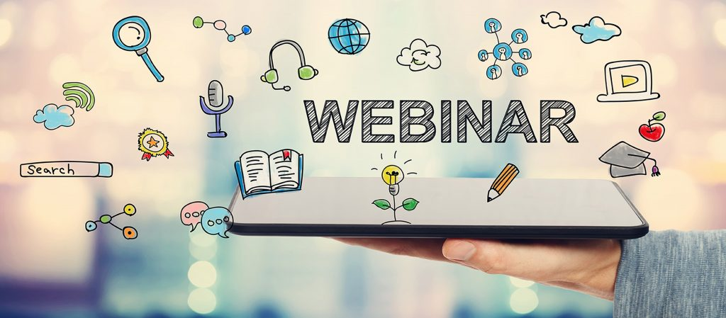Webinar concept with man holding a tablet computer
