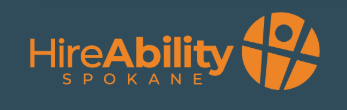 Image: Hire Ability Spokane Logo. Text in orange on a navy blue background.