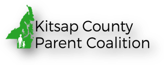 Kitsap County Parent Coalition Logo: Shape of Kitsap county in green with a white sillhouette of a parent and child holding hands.