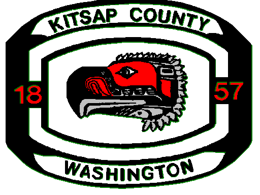 Kitsap County Washington Logo: Black, white, and red image akin to a class ring, using native American totem of an eagle with the title of Kitsap County Washington, 1857